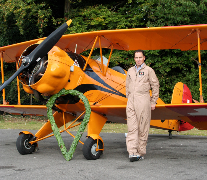 Proud owner Mark Rijkse with his prize-winning aircraft
